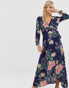 Read more about Liquorish floral maxi dress with front splits and wrap front detail