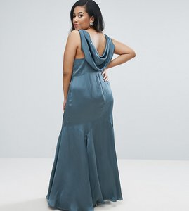 Read more about Asos curve wedding premium drape cowl back maxi dress - steel blue
