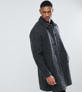 Read more about Asos tall borg overcoat in charcoal - charcoal