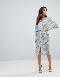 Read more about Asos embellished sequin kimono midi dress - ice grey