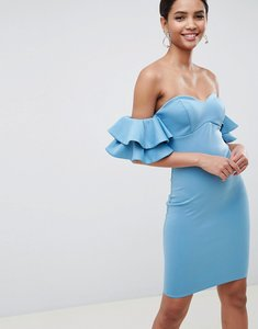 Read more about City goddess frill bardot midi dress - 4123