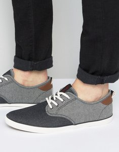 Read more about Jack jones tack mixed chambray plimsolls - black