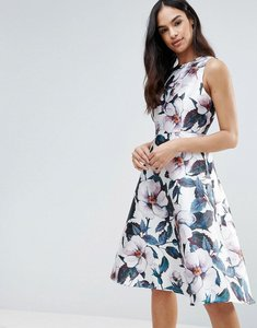 Read more about Ax paris floral midi skater dress - cream
