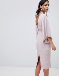 Read more about Asos embellished kimono midi dress with pearl trim - mink