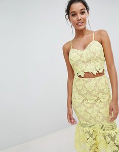 Read more about Love triangle cami strap cutwork lace crop top - yellow