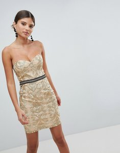 Read more about Girl in mind bandeau embroidered mini dress - gold