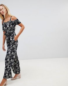 Read more about Qed london cold shoulder floral print culotte jumpsuit - black