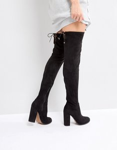 Read more about Asos kingship slim heeled over the knee boots - black
