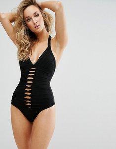 Read more about Missguided bandage slash front swimsuit - black