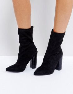 Read more about Public desire universe black crackled heeled ankle boots - blackfaux suede
