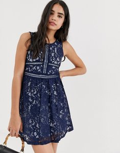 Read more about Qed london lace skater mini dress in navy