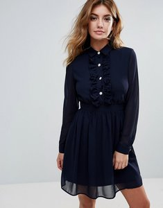 Read more about Club l embellished button detailed chiffon skater dress - navy