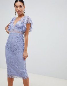 Read more about Asos design lace pencil midi dress with frill sleeve - dusty blue