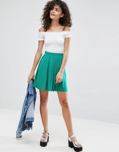 Read more about Asos mini skater skirt with box pleats - green