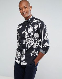 Read more about Selected homme shirt in slim fit with all over floral print - black