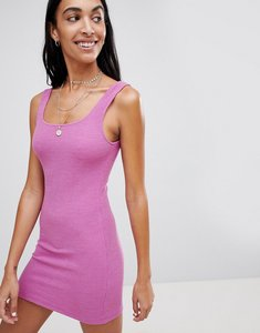 Read more about Motel scoop back mini dress in crinkle rib - violet baby rib