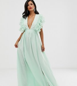 Read more about True decadence tall premium plunge front maxi dress with shoulder detail in soft mint