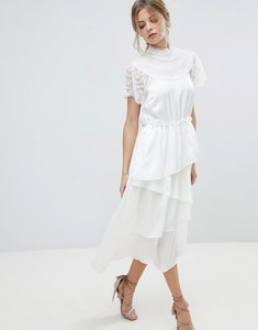 Read more about Y a s high neck lace midi dress with asymetric hem - white