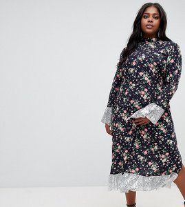 Read more about Asos design curve ditsy print midi dress with long sleeves and sequin hem and cuff detail - multi