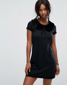 Read more about Anna sui jersey mini dress with fur collar - black