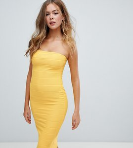 Read more about Missguided bandeau bandage midi dress in yellow