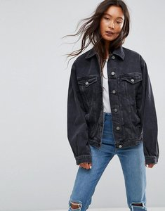 Read more about Asos denim girlfriend jacket in washed black - washed black