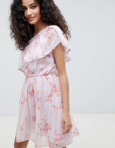 Read more about Miss selfridge asymmetric frill front skater dress - lilac print