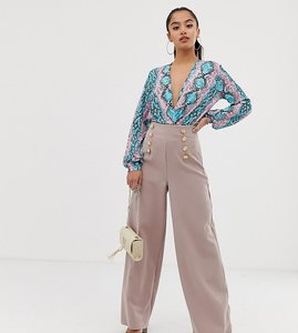 Read more about Flounce london petite wide leg tailored trouser with gold button detail in soft pink