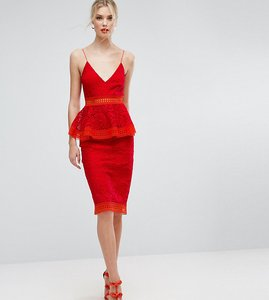 Read more about Asos tall salon colourblock lace peplum midi dress - red
