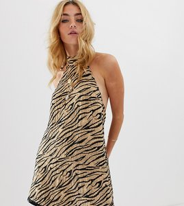 Read more about Asos design halter mini dress in animal sequin