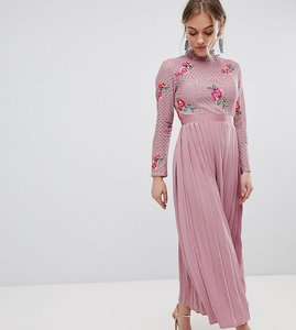 Read more about Little mistress petite embroidered lace top midaxi dress with pleated skirt - mauve