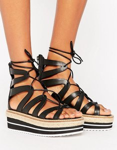 Read more about Sixtyseven tie up flatform sandal - black