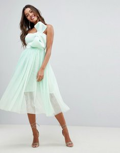 Read more about Asos design premium scuba bow front tulle midi dress - mint