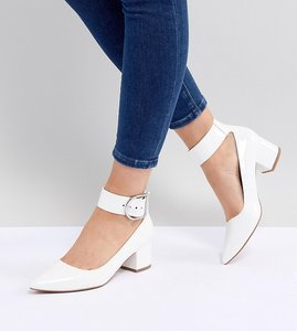 Read more about Asos design samber wide fit mid heels - white