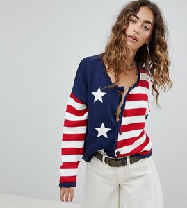 Read more about Sacred hawk slouchy knitted cardigan in stars and stripes - multi
