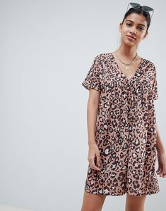 Read more about Asos design ultimate cotton smock dress in leopard print - leopard print