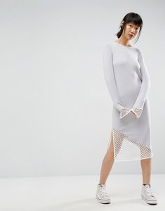 Read more about Asos midi dress in knit with mesh detail - multi