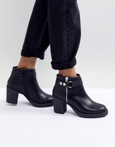 Read more about London rebel chunky heel metal trim boot - black pu