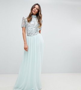 d697780c555 Read more about Frock and frill tall premium embellished top maxi dress