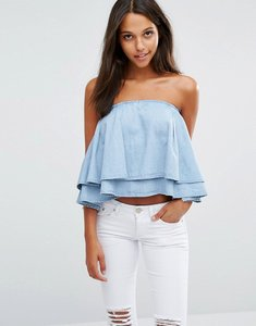 Read more about Liquor poker oversize ruffle crop top - mid wash blue