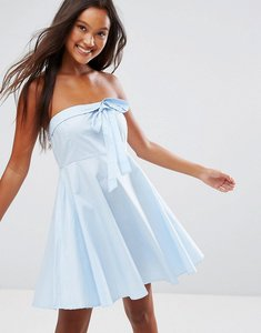 Read more about Qed london strapless bow front skater dress - pale blue
