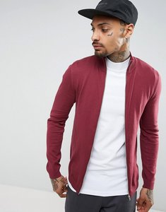 Read more about Asos cotton track jacket in burgundy - burgundy