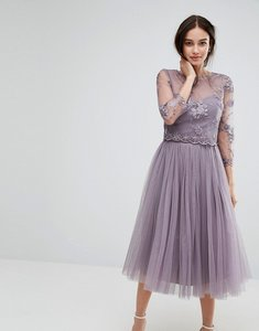 Read more about Little mistress embroidered lace midi dress with tulle skirt - mink