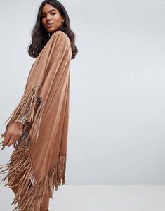 Read more about Qed london fringed festival poncho - camel