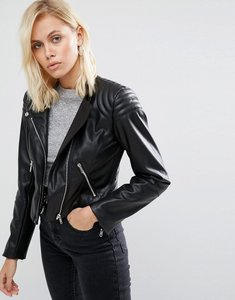 Read more about Asos leather look soft racer jacket - black