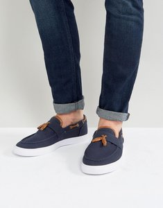 Read more about Asos slip on plimsolls in navy canvas with tassel - navy