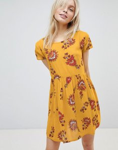 Read more about Brave soul floral print smock dress - mustrard