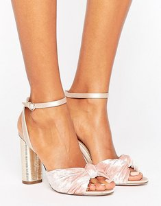 Read more about Office blush velvet heeled sandals - pink velvet