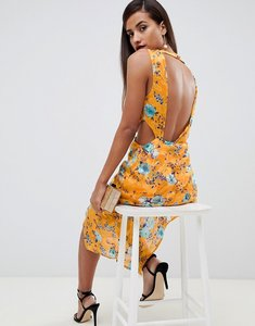 Read more about Asos design midi dress in floral print jacquard with open back - orange floral print
