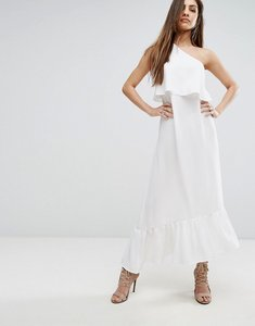 Read more about Prettylittlething frill detail one shoulder midi dress - white